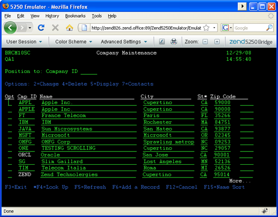 Working With The Zend Server 5250 Emulator