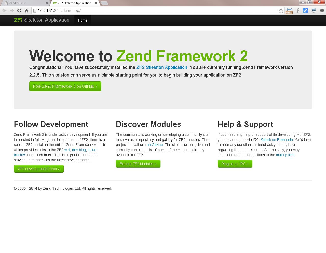 Step 4: Deploy the Demo Application- Zend Server 7
