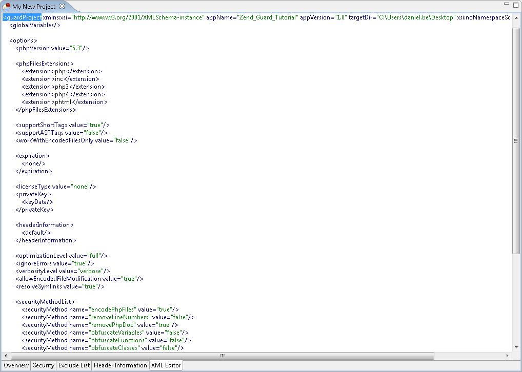 XML Editing Tab- Zend Guard 7