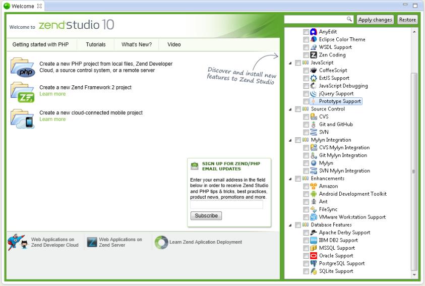 Customizing Zend Studio Using the Welcome Page - Zend Studio