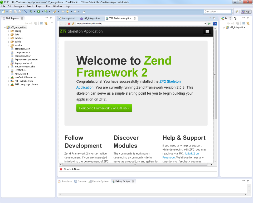 Zend Framework 2 Integration in Zend Studio