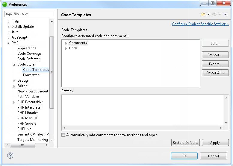 code templates preferences zend studio 13 6
