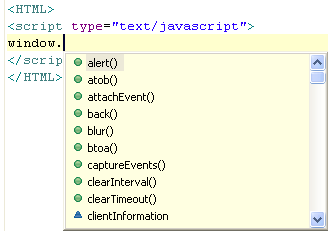Using JavaScript Content Assist
