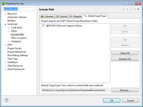 Setting the JavaScript Build Path