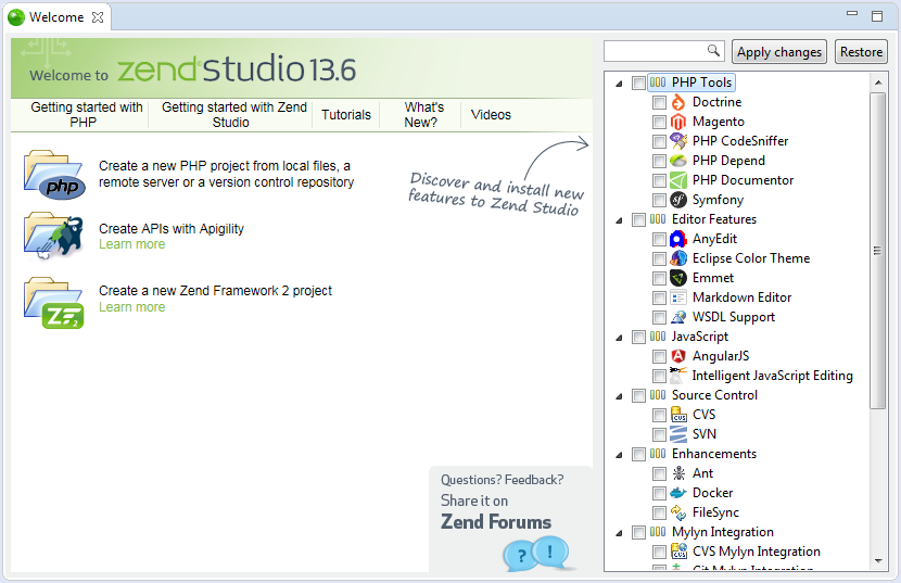 Customizing Zend Studio Using the Welcome Page- Zend Studio 13 6