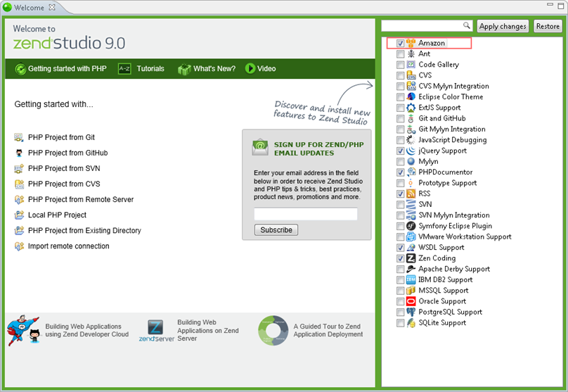 Zend Studio Online Help - Installing the Amazon AWS Toolkit