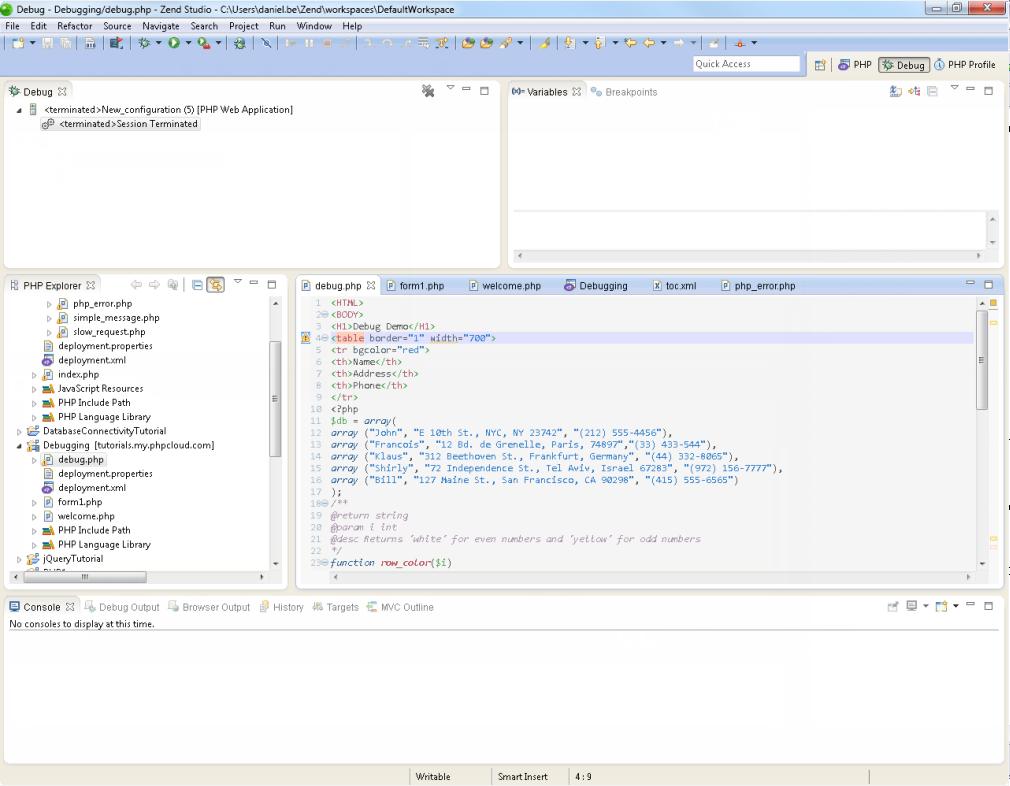 Zend Studio Online Help Php Debug Perspective Zend Studio 10 0
