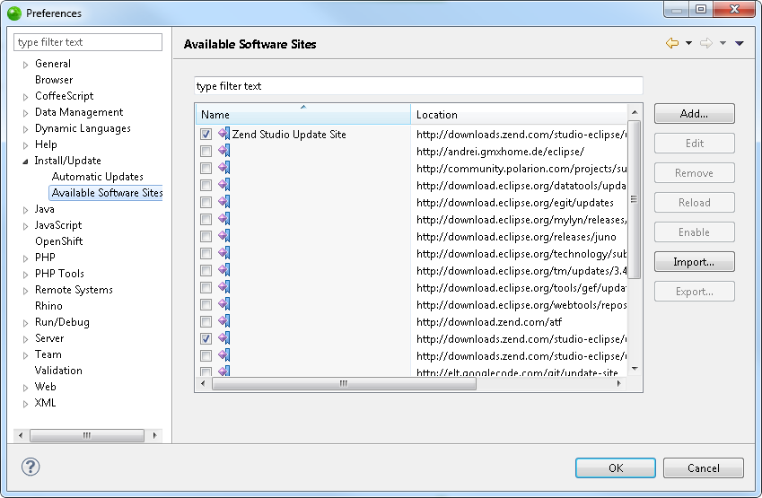 From The Update Sites List Select Zend Studio Site Downloadszend Eclipse Updates 9 0 And Click Edit