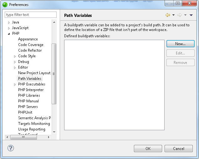 Zend Studio Online Help - Path Variables Preferences - Zend