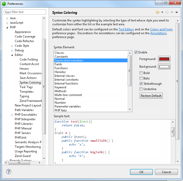 Zend Studio Online Help - Syntax Coloring Preferences