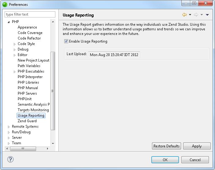 zend studio online help usage reporting preferences rh files zend com IIS Icon Windows Server 2008 R2