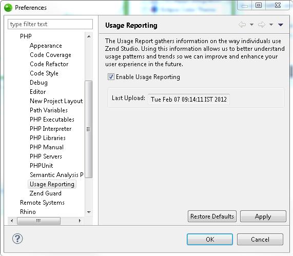 zend studio online help usage report rh files zend com PHP Source PHP Source